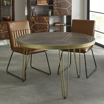 £459.99 • Buy Round Dining Table 4 Seater Rustic Solid Mango Wood Dark Gold Retro Hairpin Leg