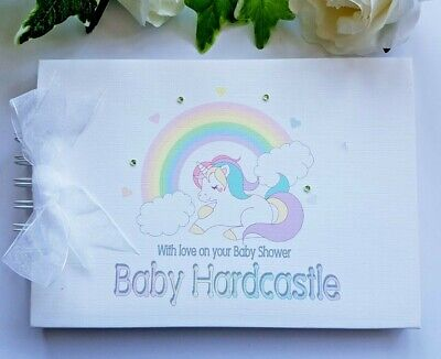 Personalised Unicorn / Rainbow Baby Shower / Christening Guest Book / Scrapbook  • 13.99£