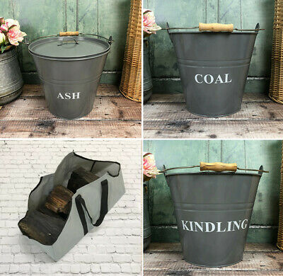 Fireplace Buckets Coal Ash Kindling Scuttle Ash Shovel Log Carrier French Grey  • 19.99£