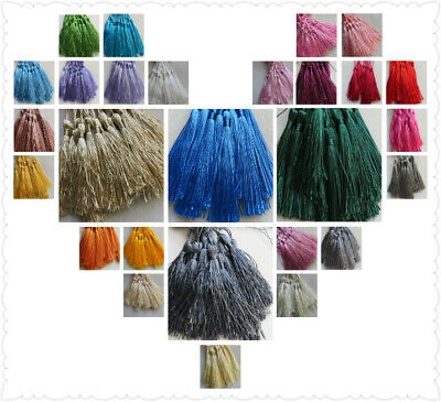 20-100 Large Silky Tassels, 29 Colours. 8cms, Jewellery/Cushion/Craft/Frills • 2.59£