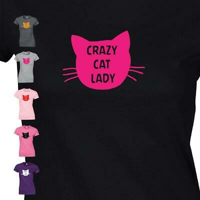 £7.99 • Buy Crazy Cat Lady Ladies T-Shirt Kitty Lover Pet Animal Kitten Face Womens Top