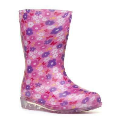 Girls Pink Floral Wellington Boots Kids Flower Welly Childrens Rain Snow Wellies • 7.99£