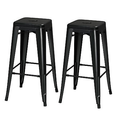 $69.99 • Buy 30'' Bar Height Stool Indoor Outdoor Square Seat Top Metal Chair Set Of 2 Black