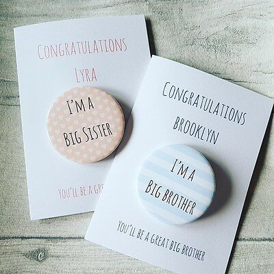 Personalised Badge Card New Big Brother, Big Sister New Baby Congratulations • 3.25£