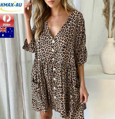 AU18.50 • Buy Womens Leopard V Neck Buttons Shirt Dress Ladies Short Sleeve Casual Dress Tops