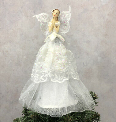 Christmas Tree Topper Praying Fairy Angel With Wings Decoration By Premier • 14.99£