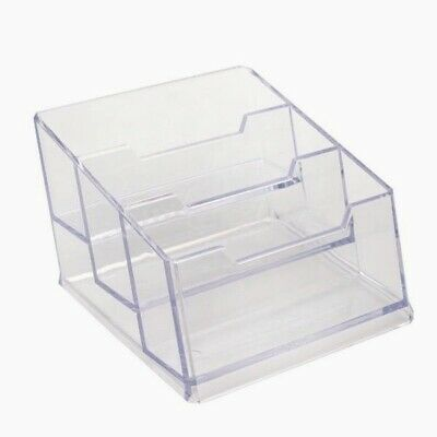 £4.99 • Buy Card Holder 3 Tier Pocket Display Stand Business Acrylic Counter Office UKSelle
