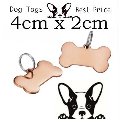 Engraved Pet Tags DOG 40 X 21cm Deep Engraving Rose Gold Plated Name Identity • 5.99£