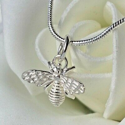 £9.54 • Buy Elegant 925 Sterling Silver Solid Bumble Bee Jewellery Pendant Necklace Chain UK