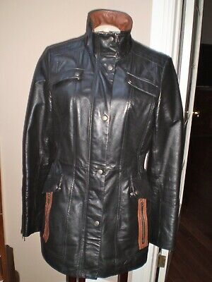 $ CDN75 • Buy Danier 100% Leather Black & Brown Winter Coat With Thinsulate Size Small - Measu