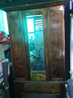 AU160 • Buy Antique Wardrobe Mahogany Or Oak With Mirror And Bottom Drawers