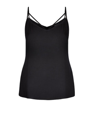 AU14.99 • Buy City Chic Ladies Sleeveless Strappy Woven Cami Top Sizes 14 16 18 20 22 Black