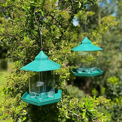 £13.99 • Buy Green Hanging Chalet Bird Feeders For Seed And Nut (set Of 2) Plastic Feeder