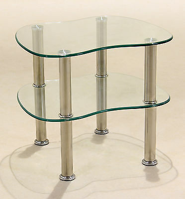 Clear Glass Display Stand Side End Lamp Coffee Table TV DVD Entertainment Unit • 44.99£