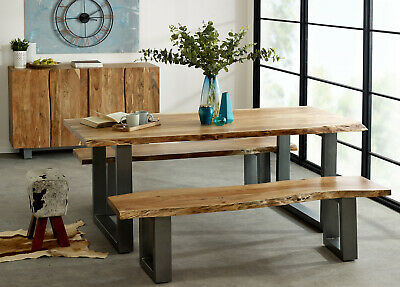 Baltic Live Edge Dining Table 2m Solid Wood Acacia Retro Industrial Metal Legs • 579.99£