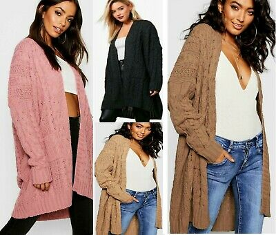Women's & Ladies Oversize Baggy Chunky Cable Knitted  Long Cape Cardigan Top  • 13.98£