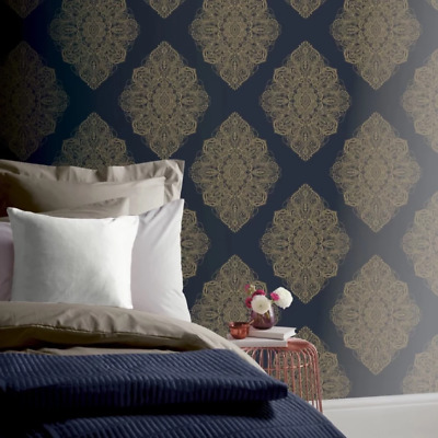 Henna Deep Blue Purple And Gold Damask Motif Wallpaper By Arthouse 686000 • 1.99£