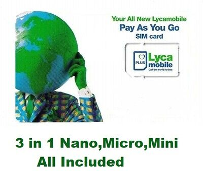 £0.99 • Buy Lyca-Mobile 3 In 1 Standard+Micro+Nano Pay As You Go SIM Card For IPhone,Samsung