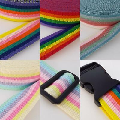 40mm Thick Webbing Stripe COTTON LOOK Rainbow Bag Handle Strap Belt Etc 1 2 4m  • 5.90£