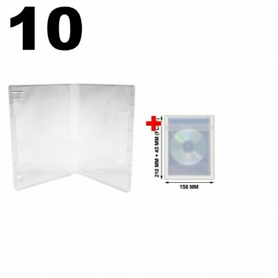 10 Clear Storage Cases 21mm For Rubber Stamps No Hub & 100 OPP Plastic Wrap Bag • 15.89£