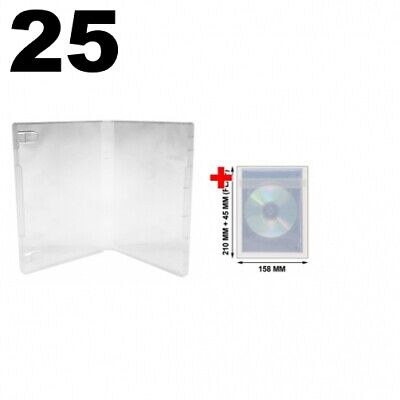 25 Clear Storage Cases 21mm For Rubber Stamps (No Hub) & 100 OPP Plastic Bag • 23.13£