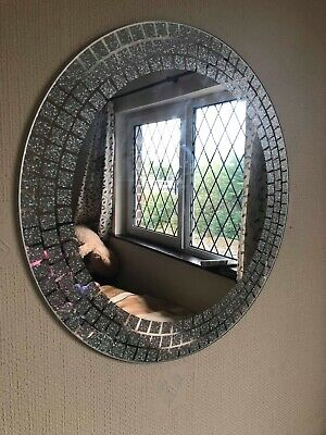 50cm Mosaic Effect Glitter Wall Mirror Frameless Round Glitter Girls Room Mirror • 21.99£