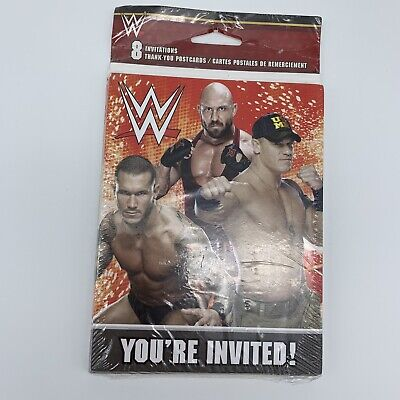 WWE WRESTLING INVITATIONS (8) Birthday Party Supplies Stationery Cards New • 3.08£