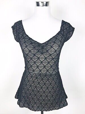 $ CDN28.63 • Buy Deletta Anthropologie Womens Size Small Black Stretch Cutout Sweetheart Sexy Top