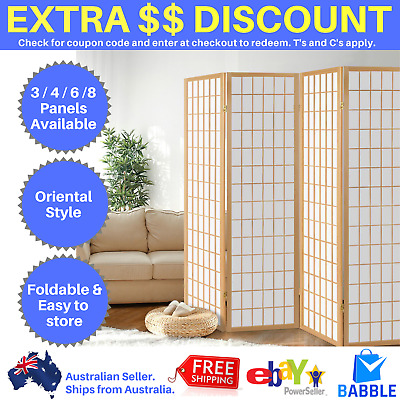 AU191.92 • Buy Artiss Wooden Room Divider 3 4 6 8 Panel Privacy Screen Folding Stand Natural