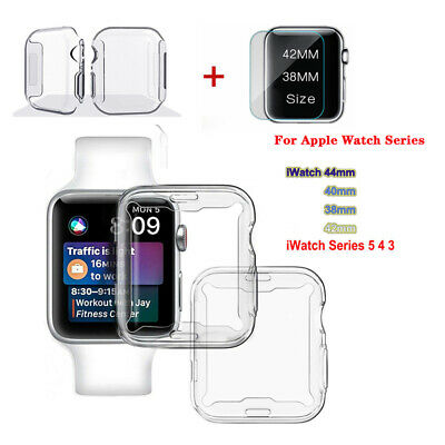 $ CDN1.89 • Buy For Apple Watch Series 5/4 Tempered Glass Screen Protector +TPU Case Cover 40/44