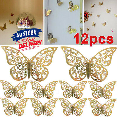 AU5.85 • Buy 12Pcs Butterfly Wall Decal Home Decorations Room 3D DIY Stickers AU Art Decor