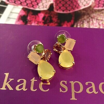 $ CDN78.67 • Buy KATE SPADE Stone Cluster Drop Gold-Plated Chandelier Earrings Yellow Green RARE