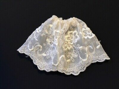 """White Embroidered Net Skirt Transparent Scallop Hem Fit 12"""" Fashion Doll 1:6 • 6£"""