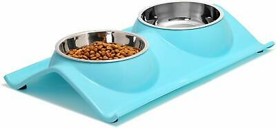 Pet Dog Puppy Cat Raised Double Bowl Feeding Dish Non-Spill Non-Slip Food Water • 6.49£
