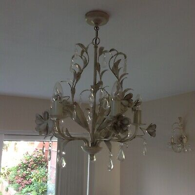 £35 • Buy Lights One Cream Gold Chandelier 5 Arm Candle Holder .glass Beads Droplets