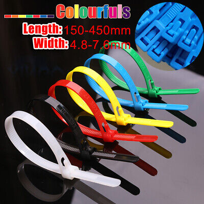 Reusable Cable Ties Zip Tie Wraps Colorful Nylon 4.8mm 7.6mm All Size Releasable • 4.55£
