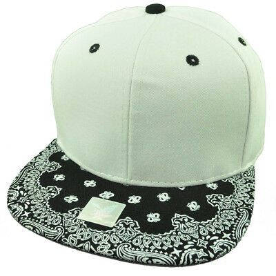 AU26.38 • Buy White Black Bandana Print Pattern Flat Bill Hat Cap Snapback Plain Blank Solid