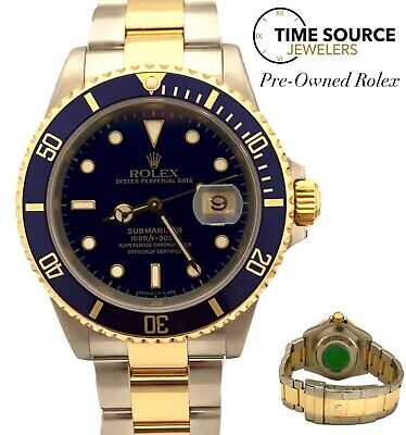$ CDN11909.48 • Buy Rolex Submariner Two Tone 18K Gold & Steel Blue Dial 40mm 16613 2000 Watch