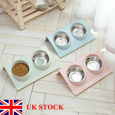 Stainless Double Food Water Pet Feeding Bowl Puppy Cat Dog Kitten Non Slip Dish • 5.99£