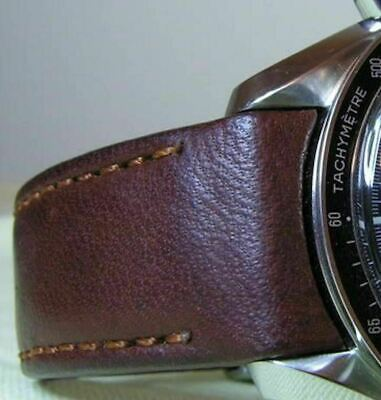 Hirsch MEDICI CURVED ENDED Leather Watch Strap Bracelet In BROWN 18mm • 35£