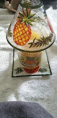 GENUINE Yankee Candle Set Williamsburg Pineapple +shade+ Plate 623g Large New Df • 87£