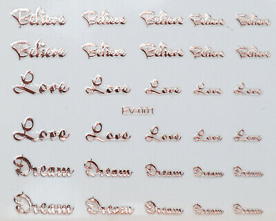 Metallic Silver Rose Gold Letter Hearts Rose Star Kiss Love 3D Nail Art STICKERS • 1.49£