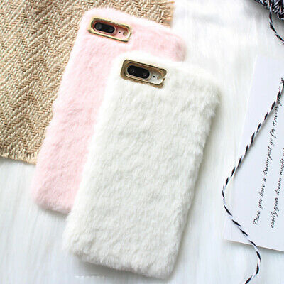 For IPhone 7 8 6 11 Pro Max Xs Comfy Faux Fur Plush Phone Case Soft Fluffy Cover • 4.32£
