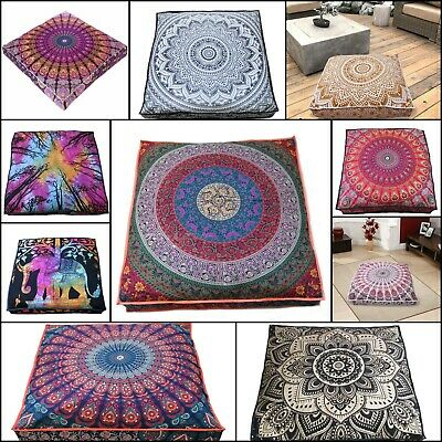 Indian Square Floor Cushion Cover 35 Inches Mandala Design Cotton Handmade Art  • 11.95£