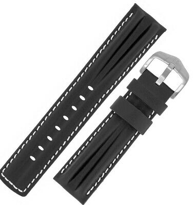 Hirsch PROFESSIONAL Leather Double RIDGE Watch Strap  BLACK WHITE Seiko Omega • 25£