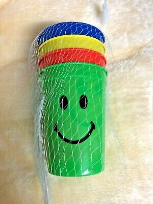8 X Smiley Face Cups Childrens Kids Plastic Party Garden Beach Mugs Smily Mugs • 5.99£