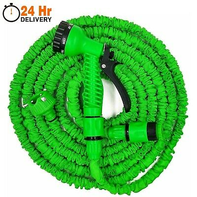 Expandable Garden Hose Pipes Expanding Hose Pipe + Water Spray Gun 50ft - 200ft • 7.99£