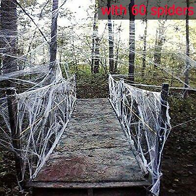$ CDN21.78 • Buy Fake Spider Web Halloween Party Decorations Props 1000 Sqft With 60 Spiders