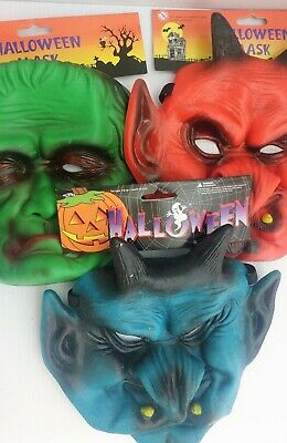 $ CDN23.95 • Buy 3 Vintage Halloween Ghoulish Rubber Laytex Masks New With Tags Old Stock