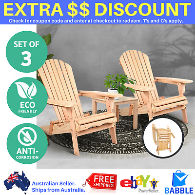 AU289.14 • Buy 3 Piece Outdoor Sun Lounge Set Beach Pool Chair Table Timber Wooden Deck Setting